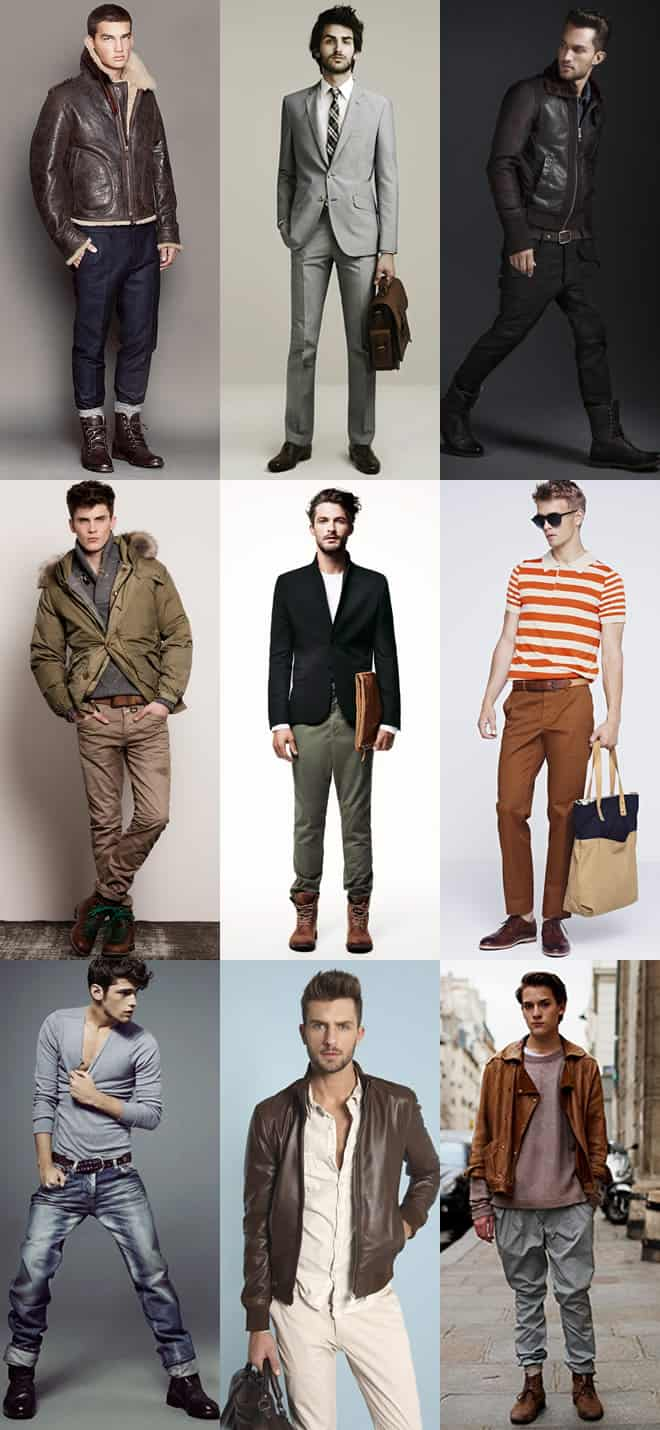 Men's Coordinating Brown and Tan Leather Look Book