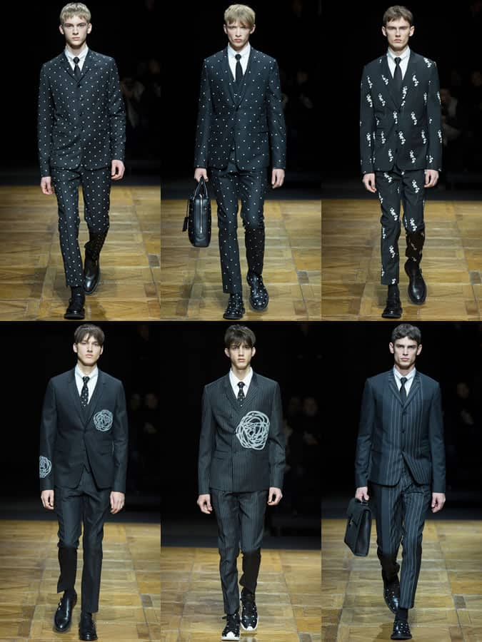 Polka Dot, Striped and Floral Suiting On The AW14 Dior Homme Runway