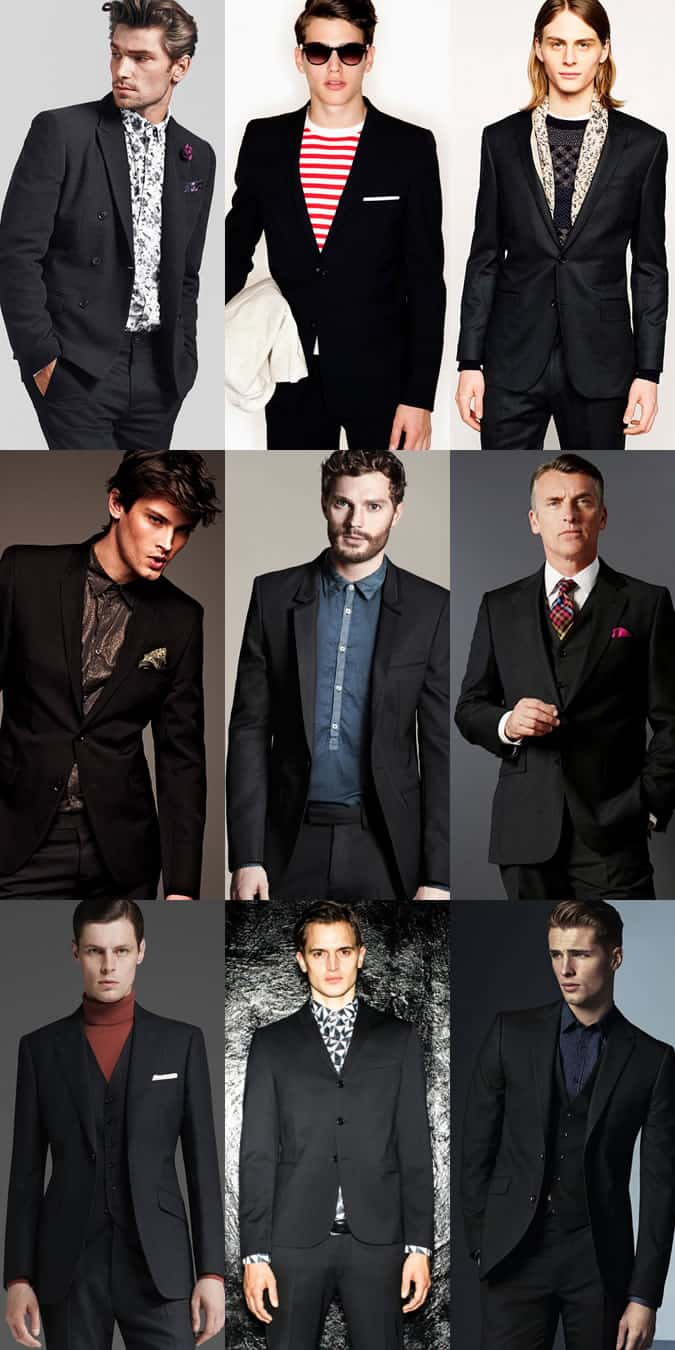 Men's Black Suits Dressed-Down With Printed Shirts, Knitwear, Roll Necks, T-Shirts - Outfit Inspiration Lookbook