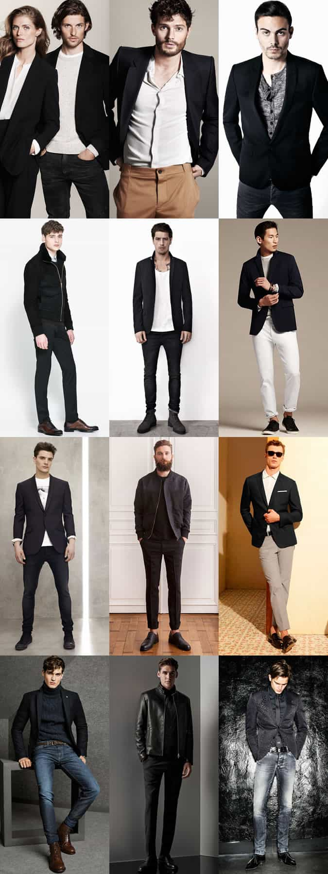 Men's Black Suit Separates - Worn In Smart-Casual Outfits For Nights Out