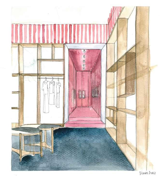 Cafe Kitsune London Pop-Up Store Sketches