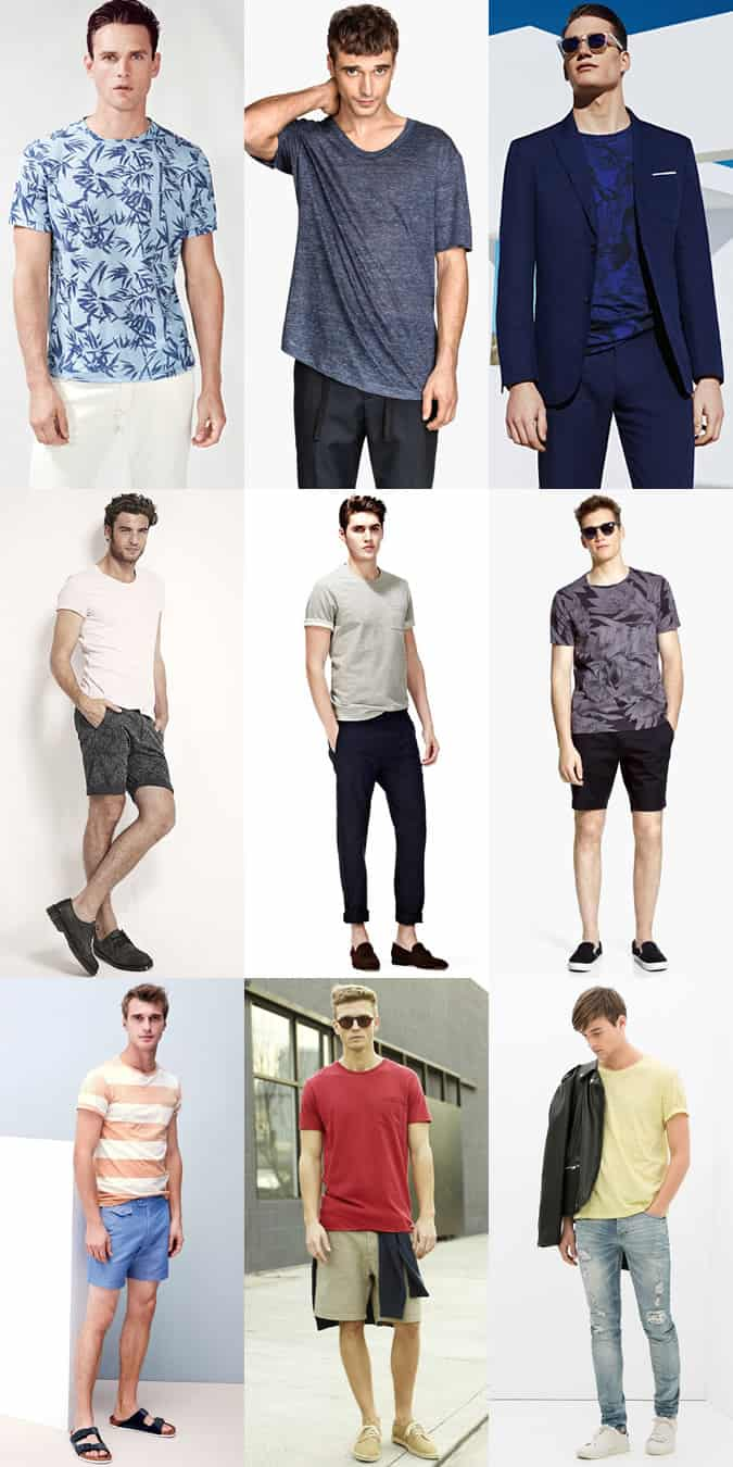 Men's Plain and printed t-shirts outfit inspiration lookbook
