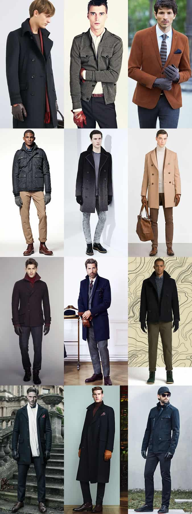 Men's Driving, Leather & Knitted Gloves Autumn/Winter Outfit Inspiration Lookbook