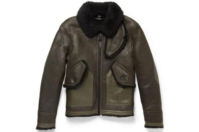 COACH LEATHER-TRIMMED SHEARLING BOMBER JACKET