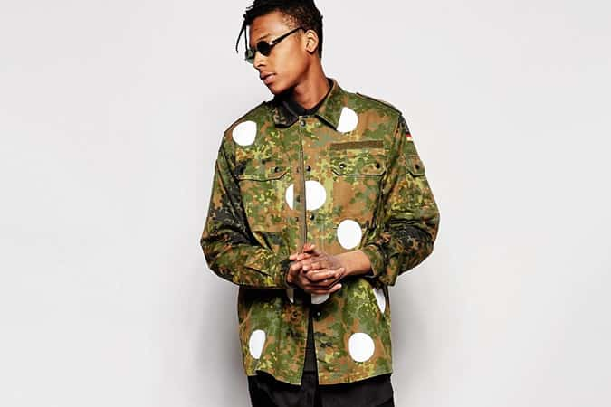 Reclaimed Vintage Camo Jacket With Polka Print