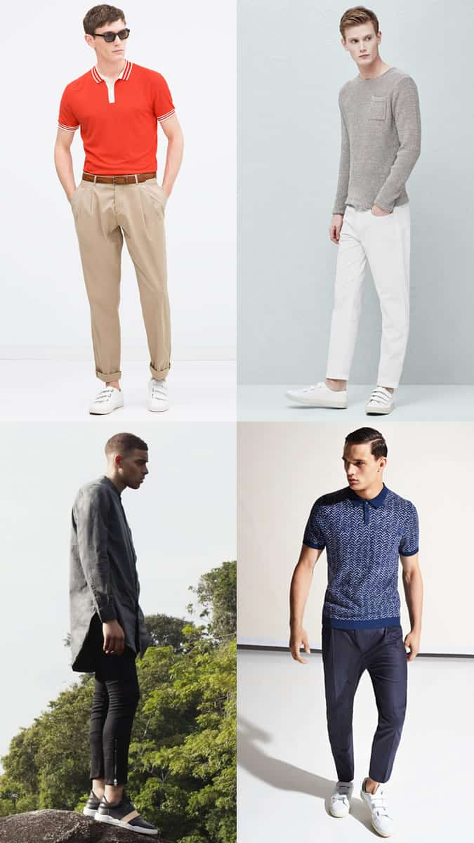 Men's Velcro and Elastic Strap Trainers Outfit Inspiration Lookbook