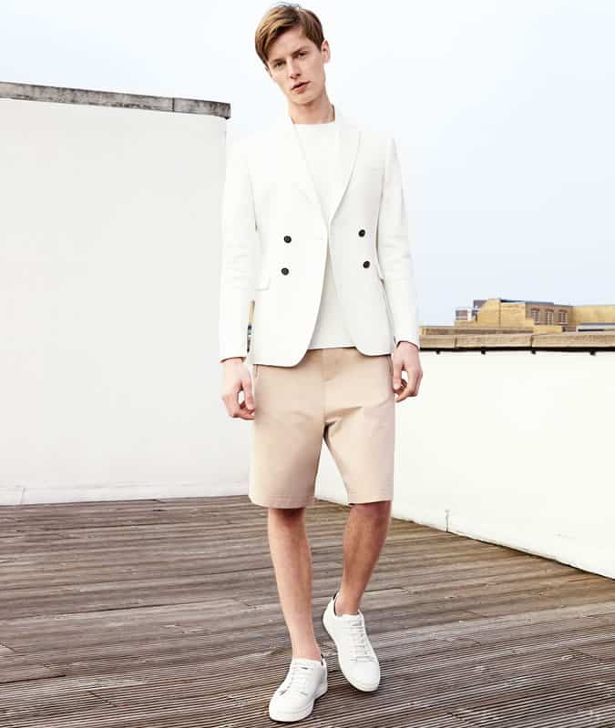 Double-Breasted Jacket + T-shirt + Shorts Outfit