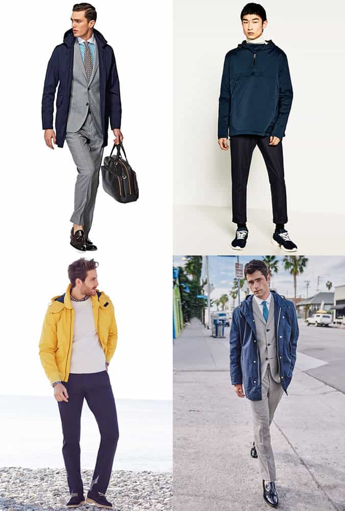 Men's Technical Rain Coats and Jackets Outfit Inspiration Lookbook