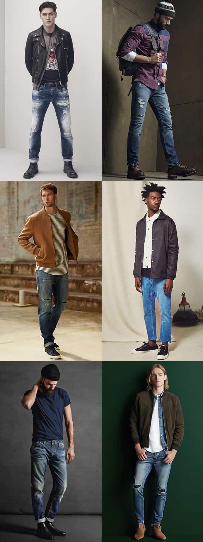Men's Distressed and Faded Denim Jeans Outfit Inspiration Lookbook