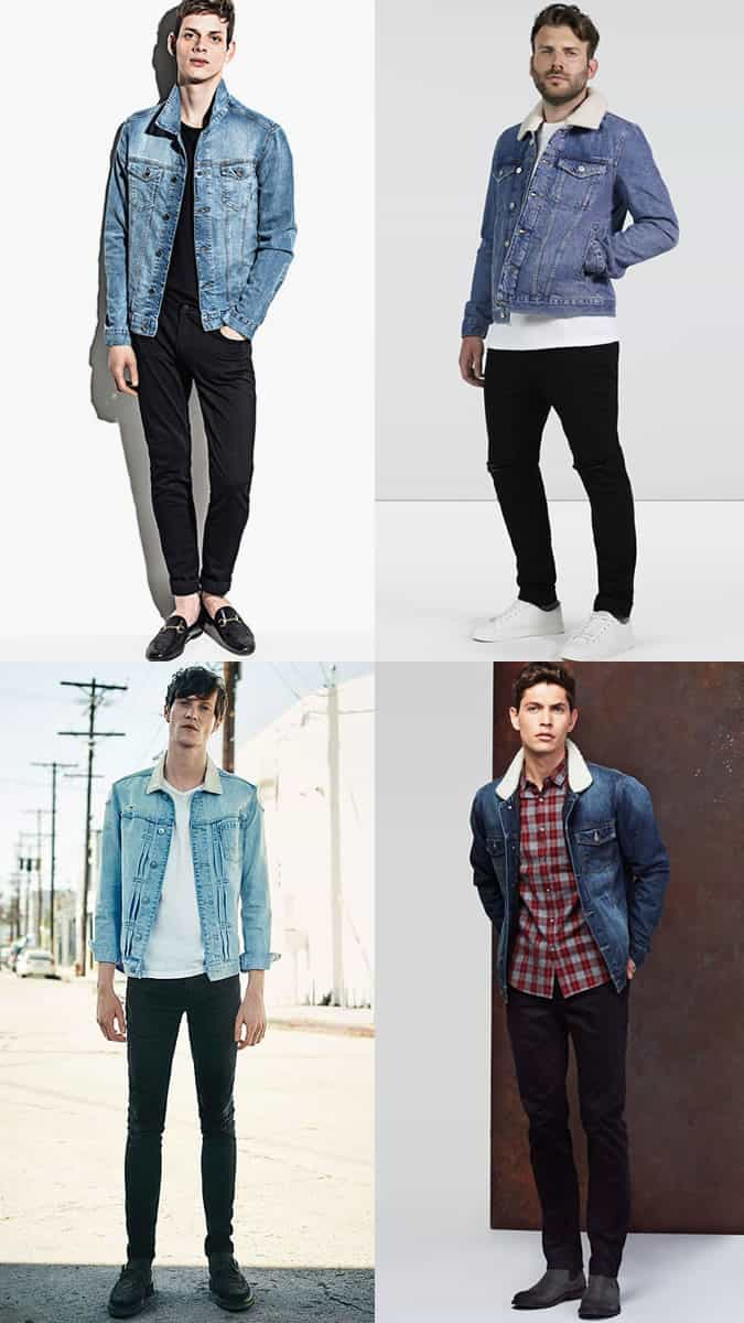 Men's Black Jeans With Light Wash Denim Jackets Combinations