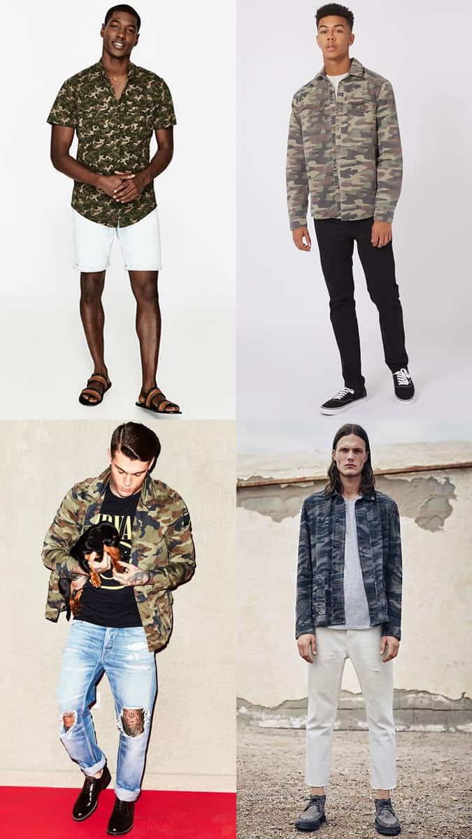 Men's Camo Print Clothing Outfit Inspiration Lookbook