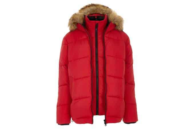 River Island Double Zip Hooded Puffer Jacket