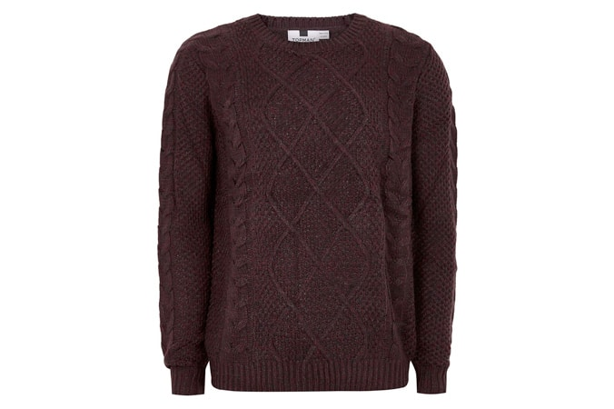 Topman Burgundy Cable Knit Jumper