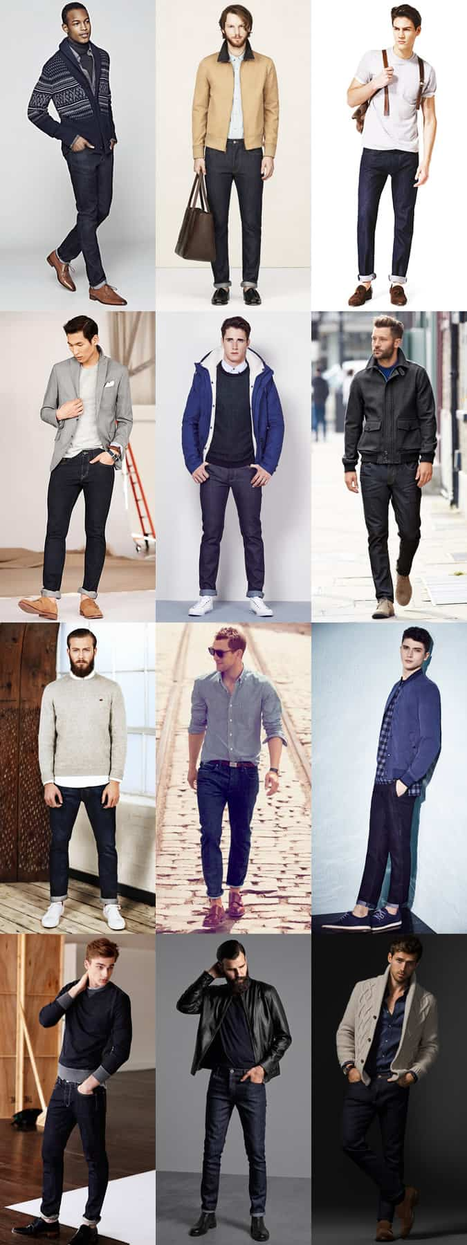 Men's Straight/Slim-Fit Minimal Dark Wash Jeans - Casual and Smart-Casual Outfit Inspiration Lookbook