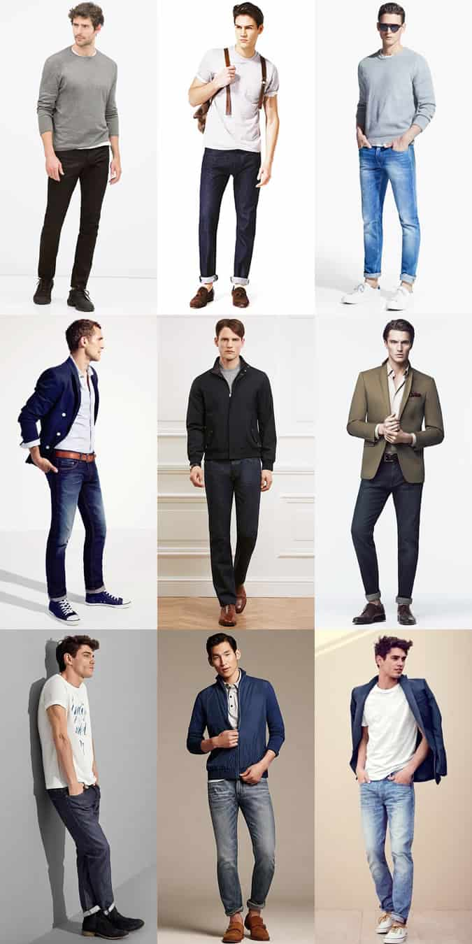 Men's Slim and Straight Fit Denim Jeans Outfit Inspiration Lookbook
