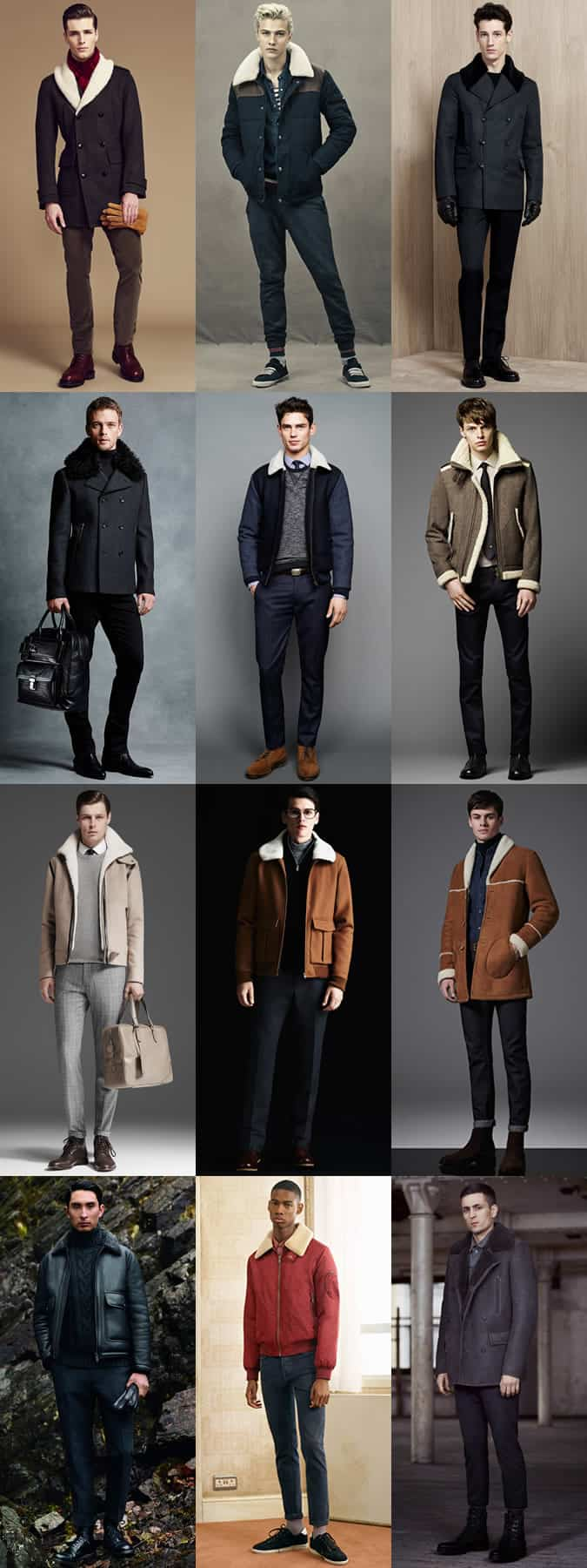 Men's Shearling Jackets Outfit Inspiration Lookbook