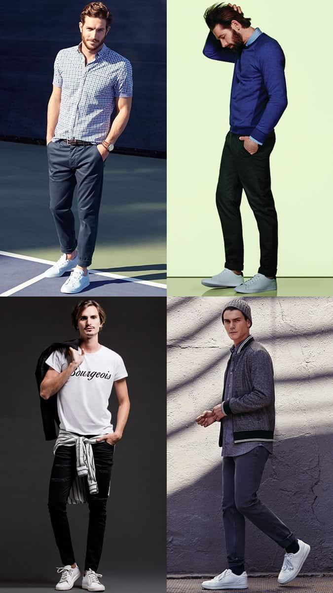 Men's White Leather Trainers Casual Outfit Inspiration Lookbook