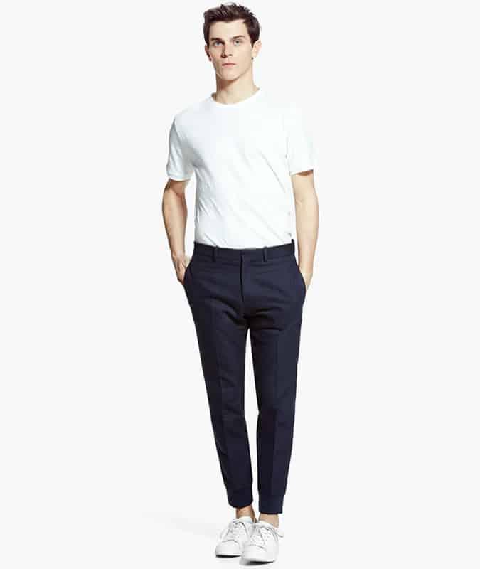 White Tee + Smart Wider Leg Trousers