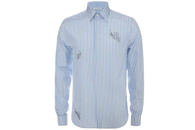 Snail Embroidered Striped Shirt