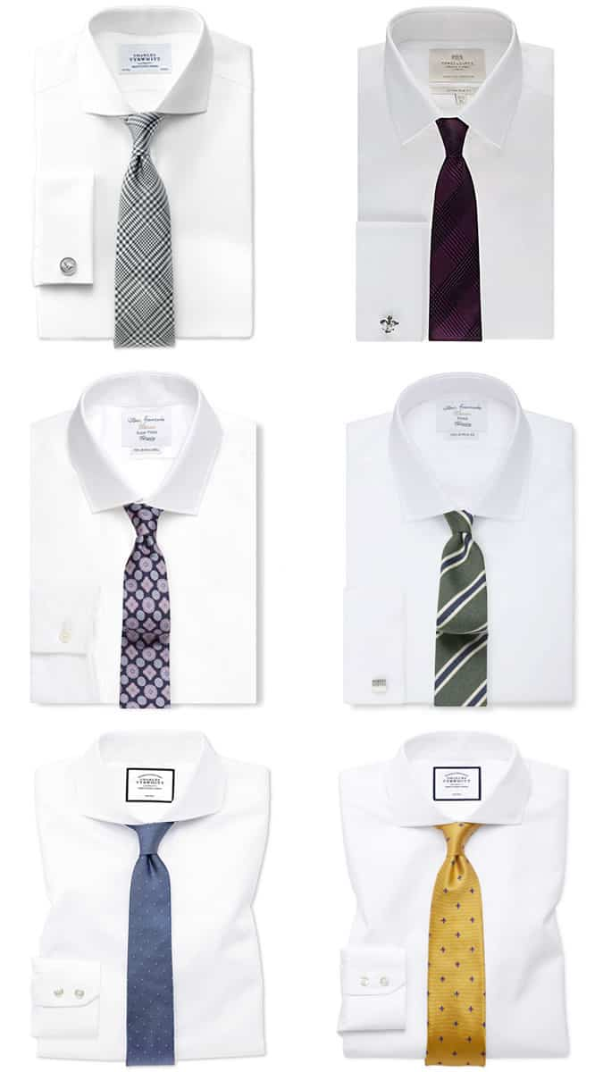 Men's White Shirt and Tie Combinations