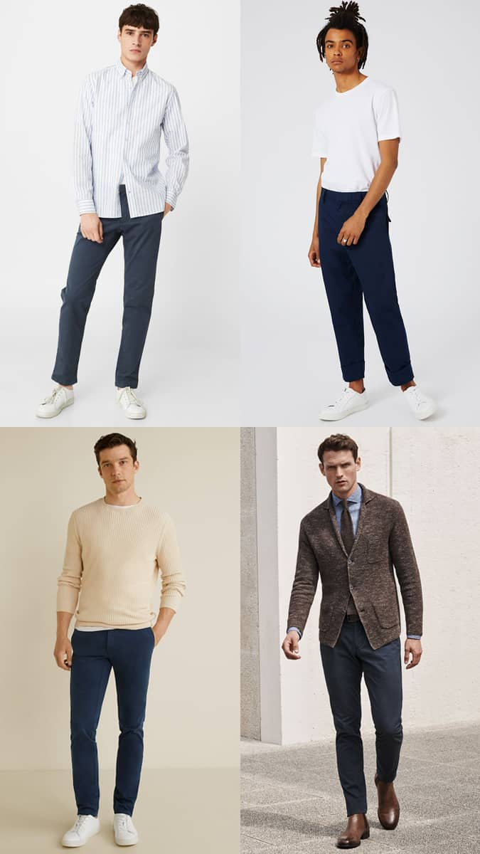 Men's Navy Chinos Outfit Inspiration Lookbook