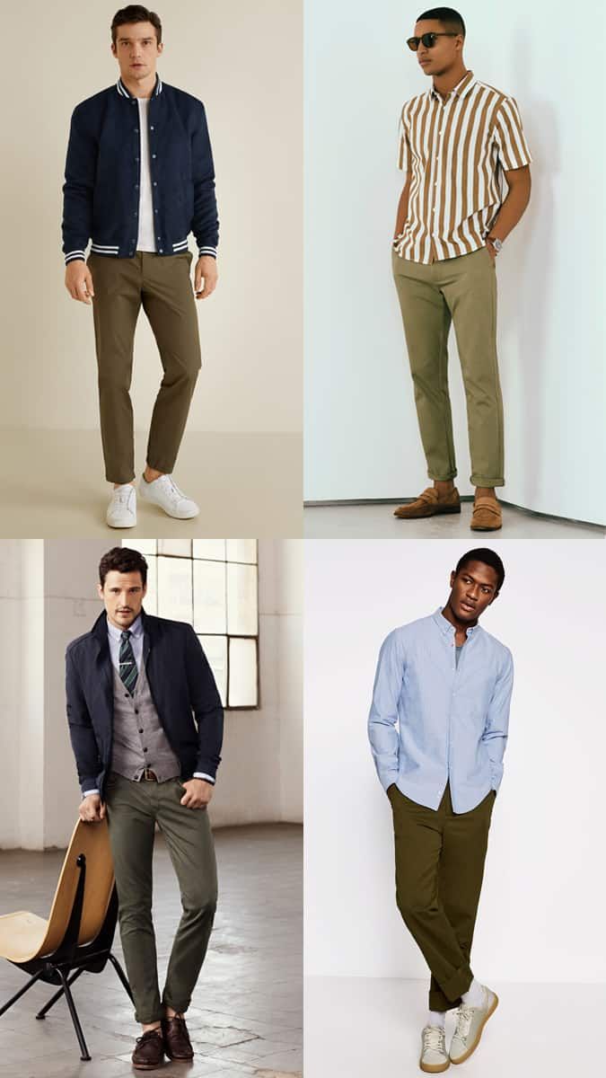 Men's Olive Green Chinos Outfit Inspiration Lookbook