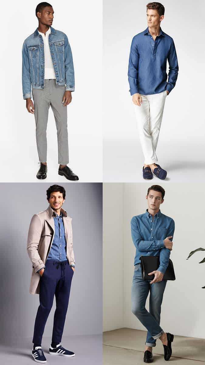 Men's mid-blue denim dad jeans, shirts and jackets