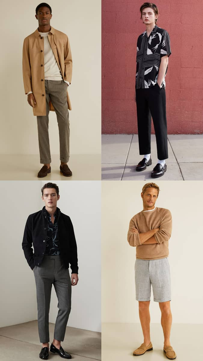 Men's Penny Loafers Fashion & Style Outfit Inspiration Lookbook