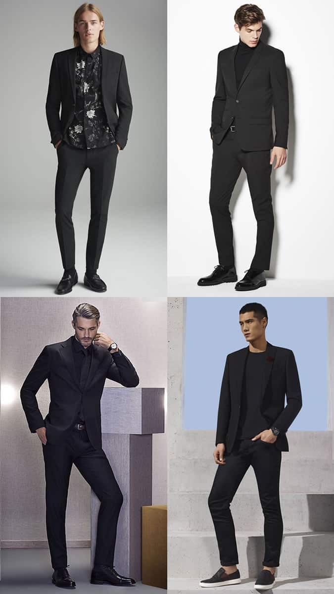 Black suits worn with black shirts and t-shirts