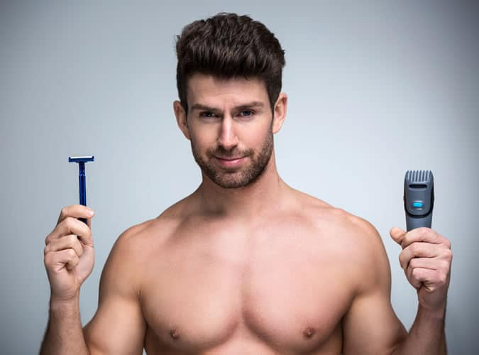 Choose whether you want to shave your balls with a razor or trimmer