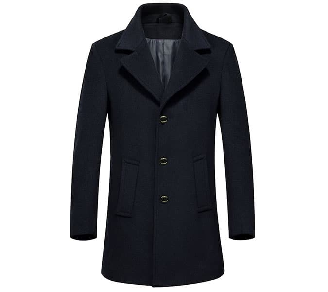 A single-breasted peacoat for men