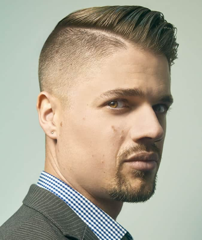 Men's Comb Over Fade Long Side Parting Hairstyle