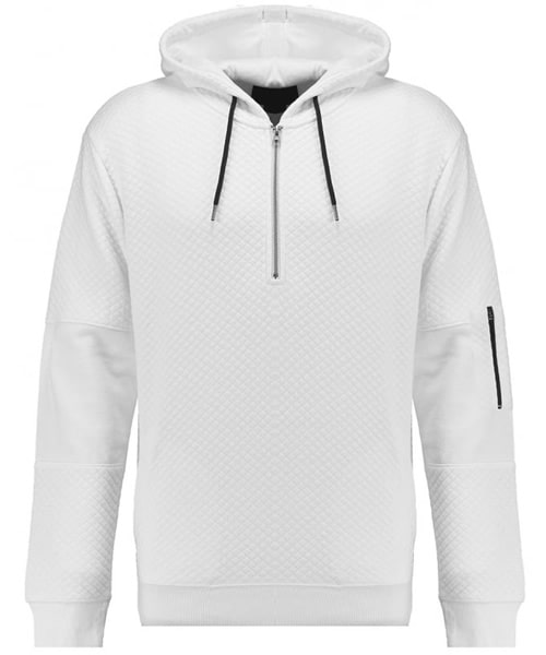 TWISTED SOUL Mens White Quilted Hoody