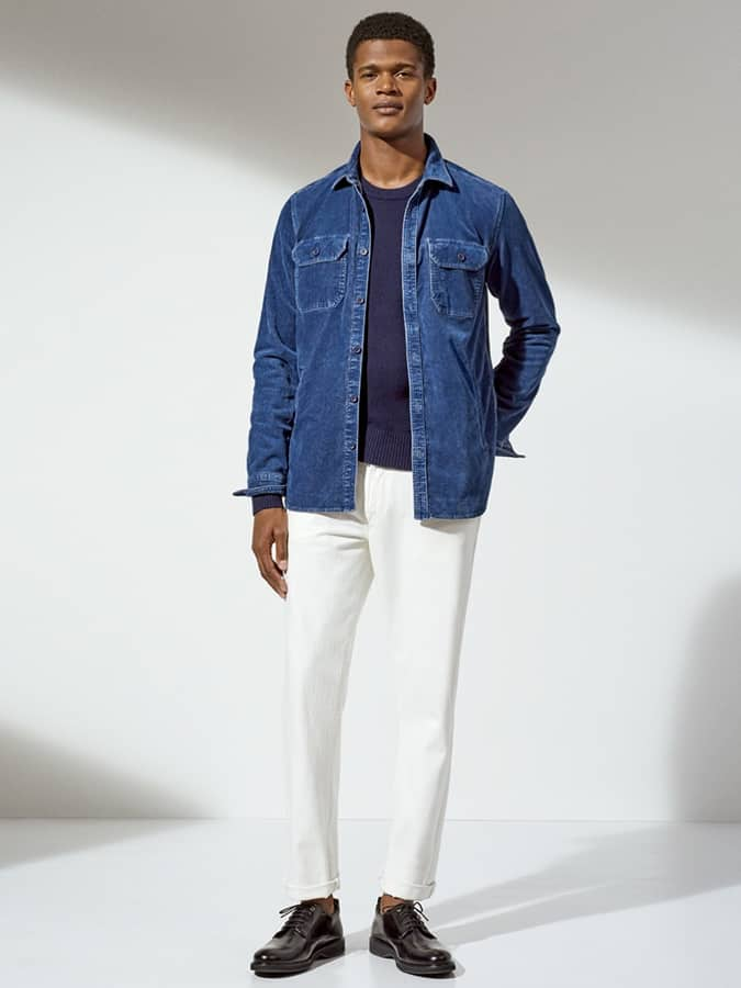 Men's White Jeans and Colour-Blocking Outfit Inspiration Lookbook