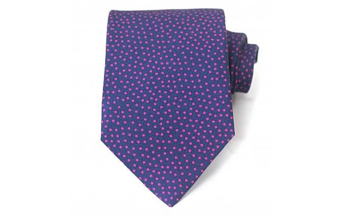 Navy and Pink Spot Silk Tie