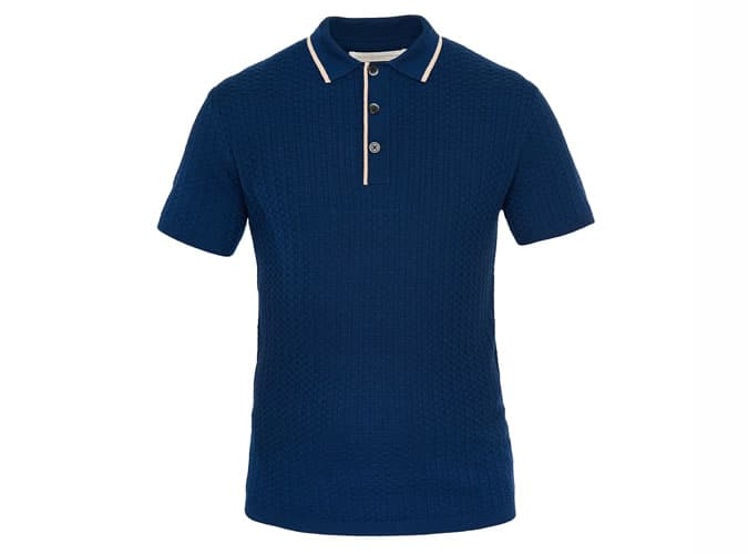 50S INSPIRED NAVY TEXTURED POLO
