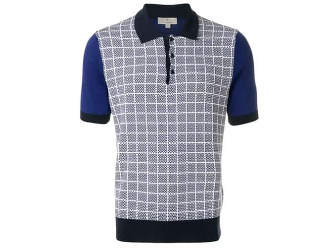 CANALI grid knit polo shirt