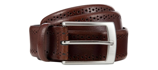 John Lewis & Partners Made In Italy Brogue Belt, Brown