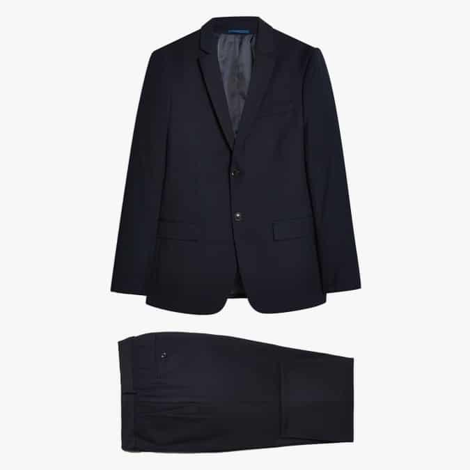 topman Piece Navy Textured Slim Fit Suit With Notch Lapels