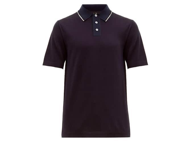 DUNHILL Tipped silk-collar cotton polo shirt