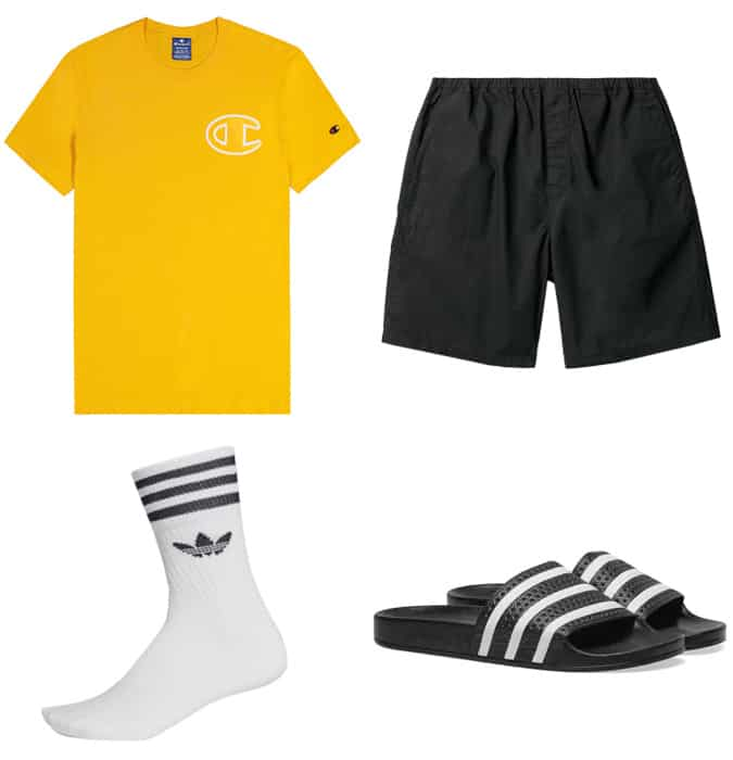 White socks with sliders outfits for men