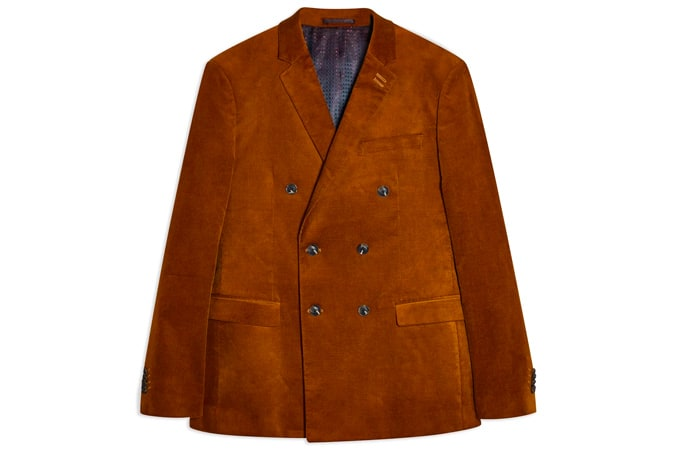 Autumnal Brown Corduroy Skinny Fit Double Breasted Suit Blazer With Notch Lapels