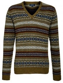 Gant Ny Lambswool Fair Isle V-neck Jumper Multi