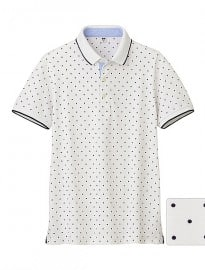 Uniqlo Men Dry Pique Printed Short Sleeve Polo Shirt J
