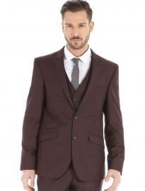 Burton Burgundy Slim Fit Suit Jacket