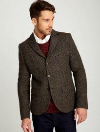 Burton Brown Check Harris Tweed Slim Fit Blazer