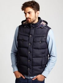 Burton Navy Padded Gilet With Check Hood Lining