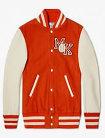 Reebok X Maison Kitsune Varsity Jacket Bold Orange & Cream White