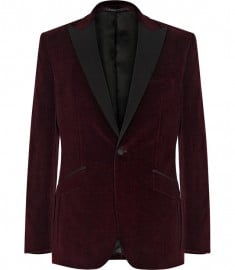 Reiss Philip Single Buttoned Velvet Blazer Burgundy