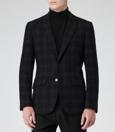 Reiss Raeburn Check Wool Blend Blazer Charcoal